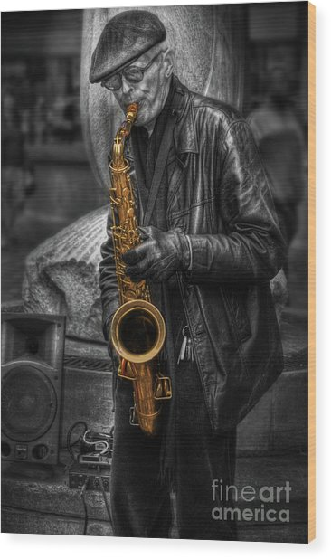 Sax Love Wood Print