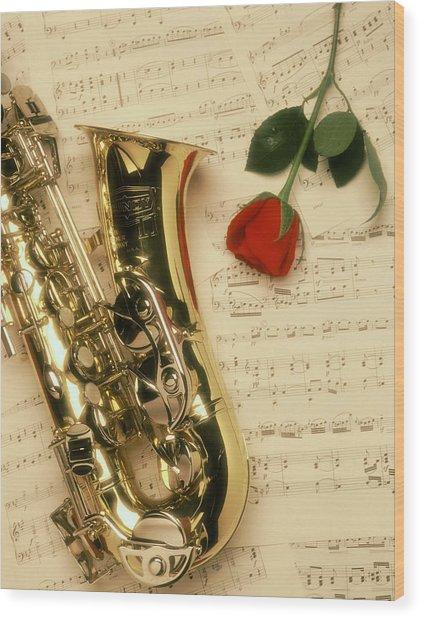 Sax Romance Wood Print