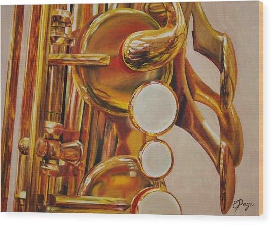 Saxophone Wood Print