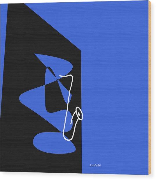 Saxophone In Blue Wood Print