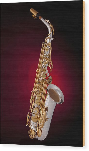 Saxophone On Red Spotlight Wood Print