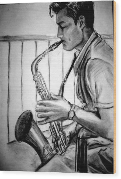 Saxophone Player Wood Print by Laura Rispoli