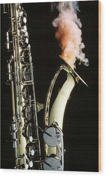 Saxophone With Smoke Wood Print