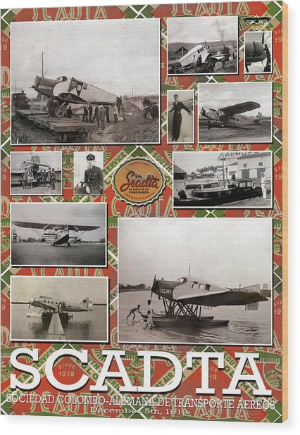 Scadta Airline Poster Wood Print