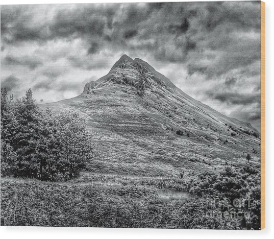 Scafell Pike In Greyscale Wood Print
