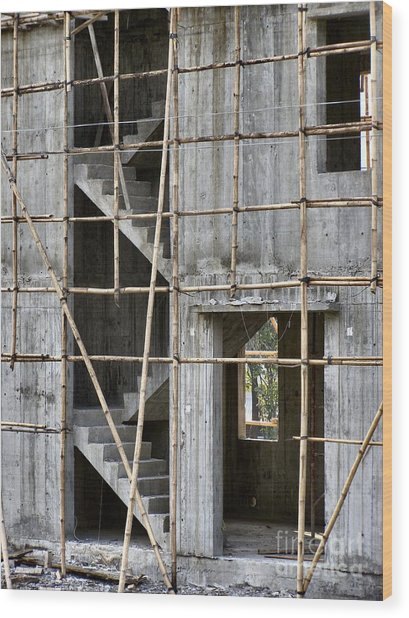 Scaffolds And Stairs Wood Print by Kathy Daxon