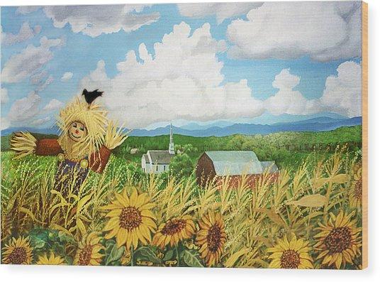 Scarecrow Farm Wood Print