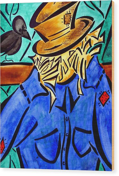 Scarecrow Wood Print by Meilena Hauslendale