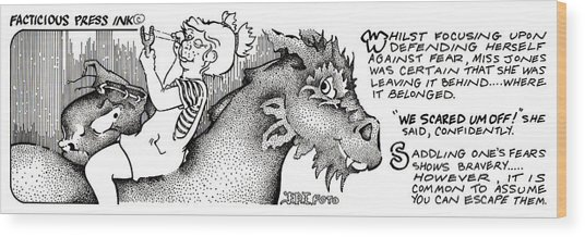 Scared Um Off Fpi Cartoon Wood Print