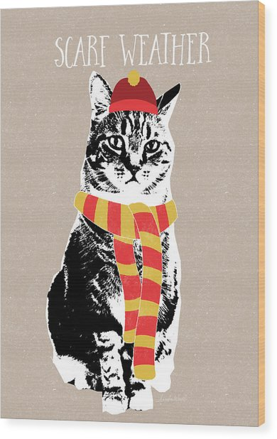 Scarf Weather Cat- Art By Linda Woods Wood Print