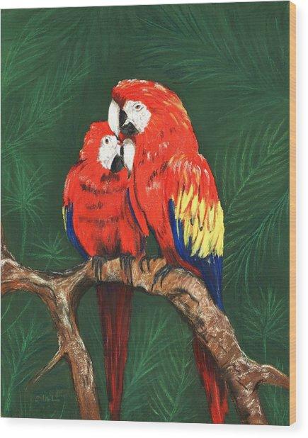 Wood Print featuring the painting Scarlet Macaws by Anastasiya Malakhova