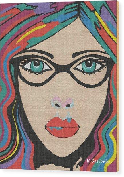 Scarlett - Contemporary Woman Art Wood Print