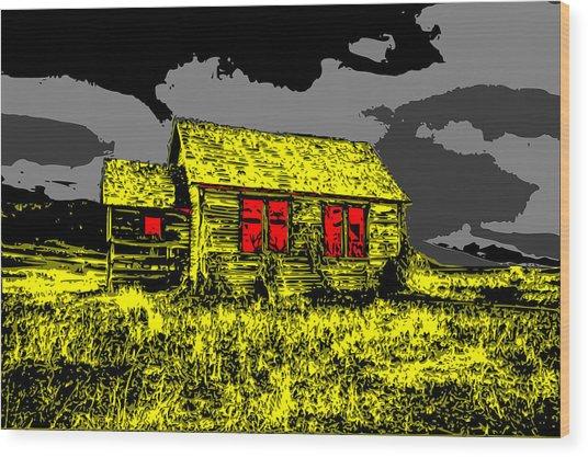 Scary Farmhouse Wood Print