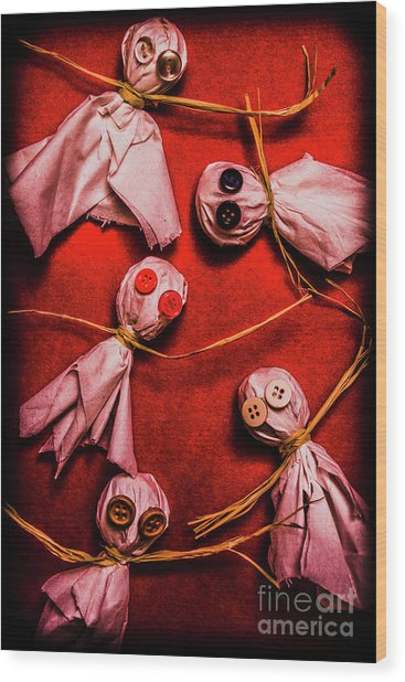 Scary Halloween Lollipop Ghosts Wood Print