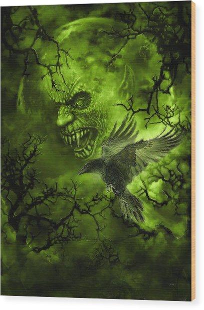 Scary Moon Wood Print