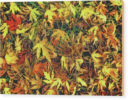 Scattered Autumn Leaves Wood Print