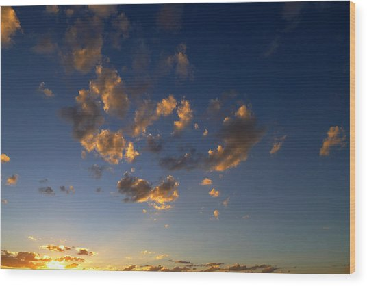 Scattered Clouds At Sunset Wood Print