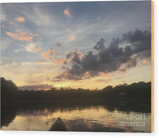 Scattered Sunset Clouds Wood Print