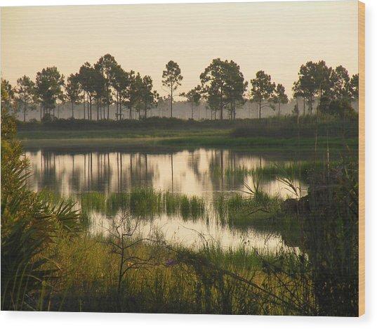Scenic Reflections After Sunrise Wood Print by Rosalie Scanlon