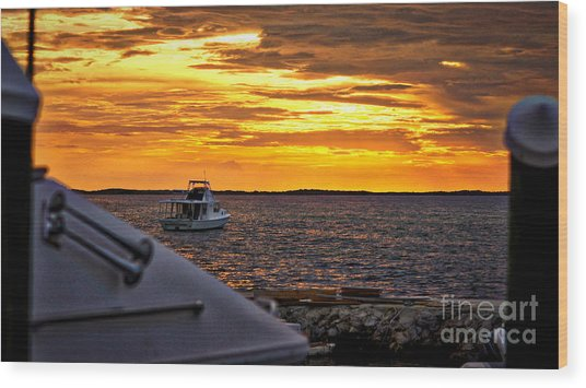 Scenic Sunset On The Keys Wood Print by Dieter  Lesche