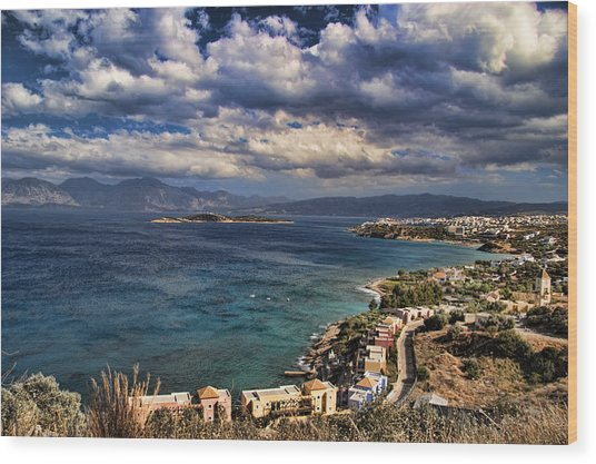 Scenic View Of Eastern Crete Wood Print