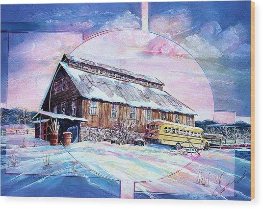 School Bus And Barn Wood Print
