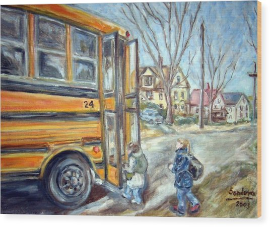 School Bus Wood Print by Joseph Sandora Jr