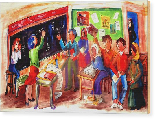 School Days In Morocco Wood Print by Patricia Rachidi