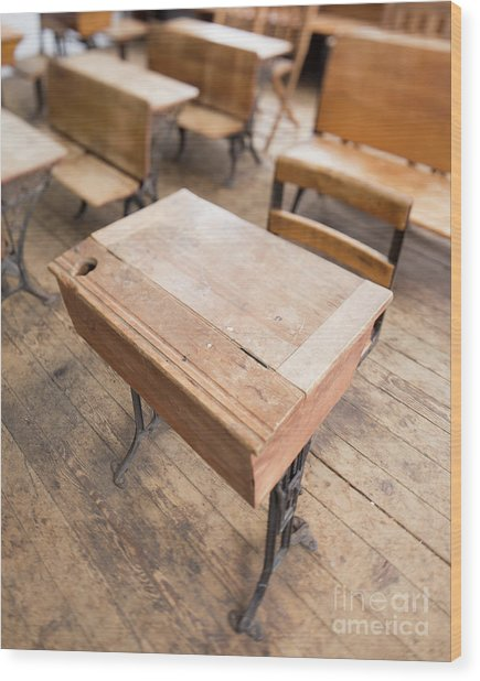 Wood Print featuring the photograph School Desks In A One Room School Building by Edward Fielding
