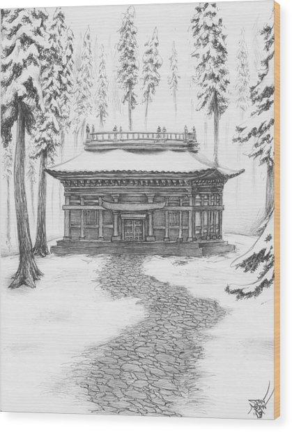 School In The Snow Wood Print