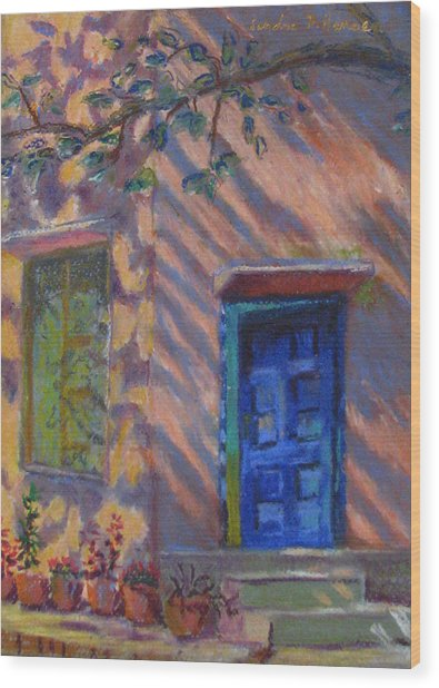 School Room Door Varanasi India Wood Print by Art Nomad Sandra  Hansen