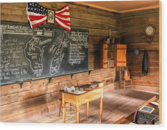 Schoolhouse Classroom At Old World Wisconsin Wood Print