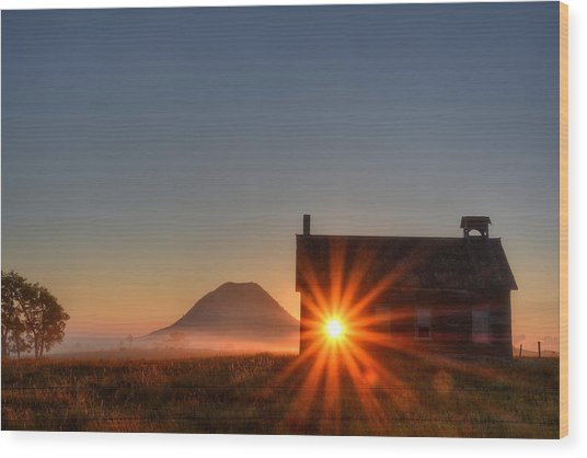 Schoolhouse Sunburst Wood Print
