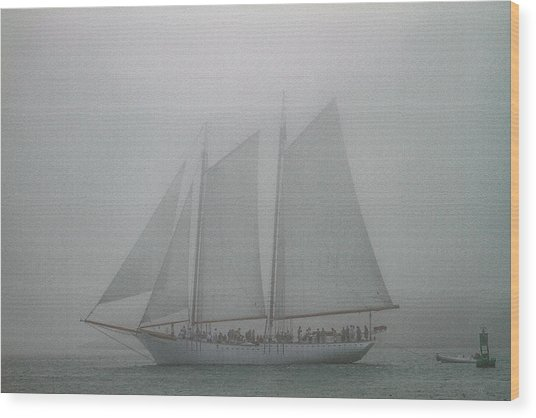Schooner In Fog Wood Print