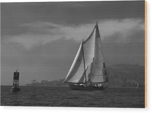Schooner Off Point Loma Wood Print
