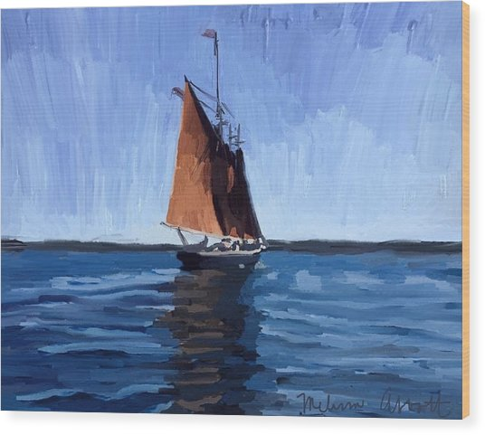 Schooner Roseway In Gloucester Harbor Wood Print
