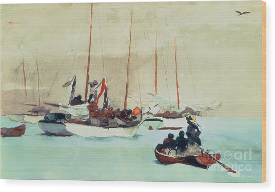 Schooners At Anchor In Key West Wood Print