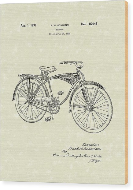 Schwinn Bicycle 1939 Patent Art Wood Print