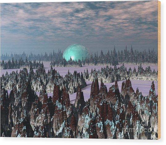 Sci Fi Landscape Wood Print
