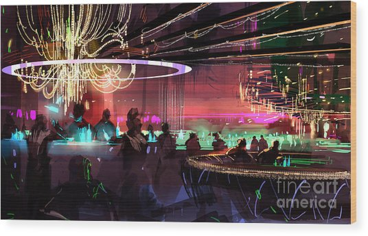 Wood Print featuring the painting Sci-fi Lounge by Tithi Luadthong