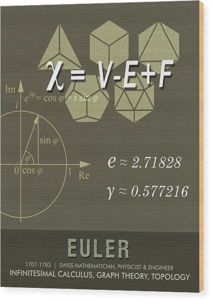 Science Posters - Leonhard Euler - Mathematician, Physicist, Engineer Wood Print
