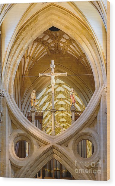 Scissor Arches, Wells Cathedral Wood Print