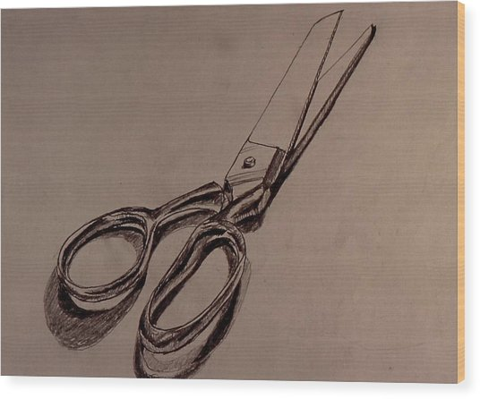 Scissors Wood Print by Chris  Riley