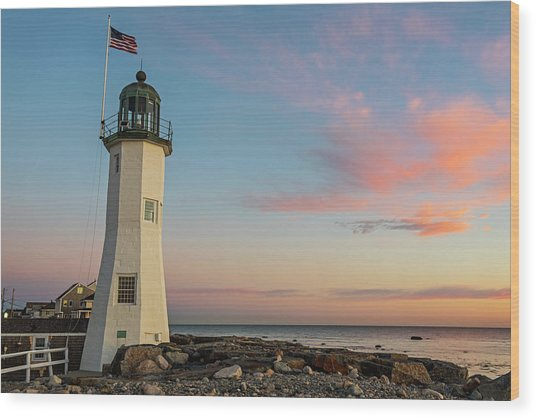 Scituate Lighthouse Scituate Massachusetts South Shore At Sunrise Wood Print