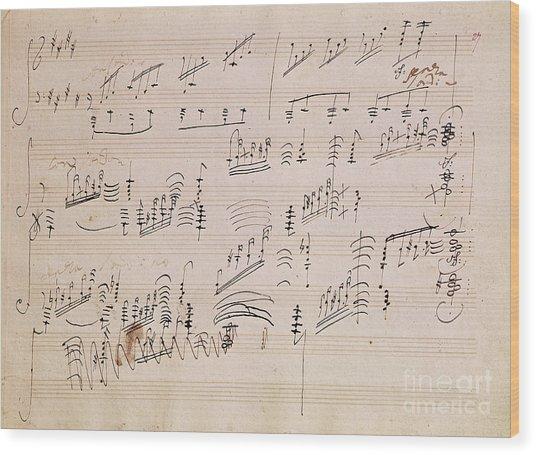 Score Sheet Of Moonlight Sonata Wood Print
