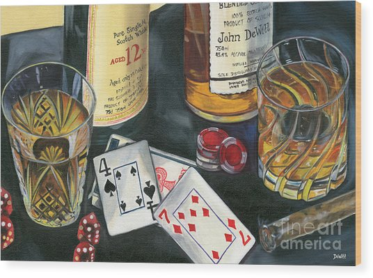 Scotch Cigars And Cards Wood Print