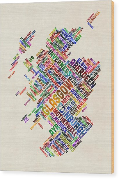 Scotland Typography Text Map Wood Print
