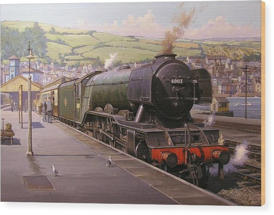 Scotsman At Kingswear Wood Print
