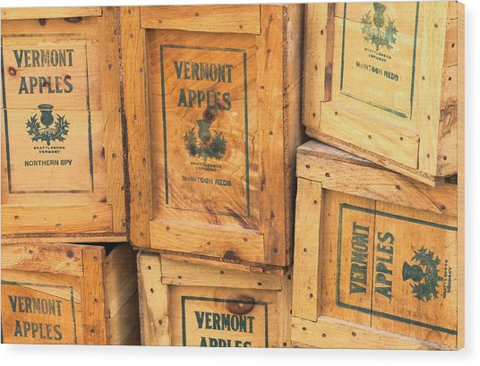 Scott Farm Apple Boxes Wood Print