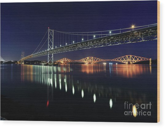 Scottish Steel In Silver And Gold Lights Across The Firth Of Forth At Night Wood Print